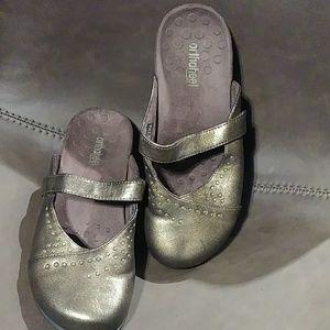 Vionic Orthaheel Gold Studded Slides